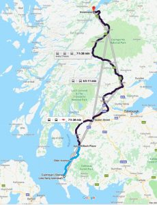 Map of Bus then train from Cairnryan to Inverness